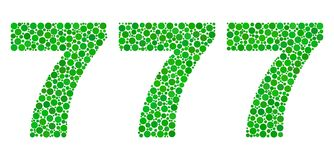 777 Text in Dot Style. Vector dot 777 text isolated on a white background. 777 mosaic label of circle dots in various sizes. Lucky text royalty free illustration