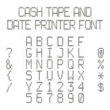 Vector dotted alphabet imitating data printer or cash register Royalty Free Stock Images