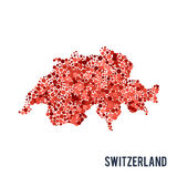 Vector dotted colorful map of Switzerland isolated on a white background Royalty Free Stock Photo