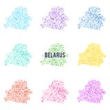Vector dotted colourful map of Belarus. Royalty Free Stock Photo
