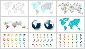 Vector dotted, connection, polygonal and 3d world map. Earth globe. Set of map pointers. Colorful markers Stock Images