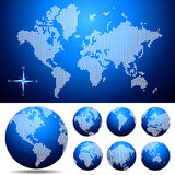 Vector dotted  Map and Globe of the World. Easy change colors Royalty Free Stock Photography