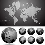 Vector dotted Map and Globe of the World. Easy change colors Royalty Free Stock Photos