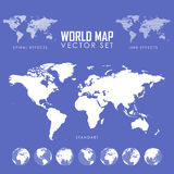 Vector dotted Map and Globe of the World. Royalty Free Stock Photo