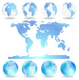 Vector dotted map and Globes. Vector dotted Map and Globe of the World. Vector image Royalty Free Stock Photos