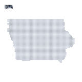 Vector dotted map State of Iowa isolated on white background . Stock Photography