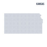 Vector dotted map State of Kansas isolated on white background . Stock Image