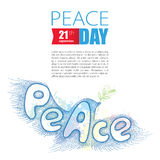 Vector dotted peace dove with olive branch isolated on white background. Poster for international Day of peace in dotwork style. Stock Photos