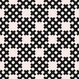 Vector dotted seamless pattern, repeat monochrome texture. With simple geometric figures, circles, crosses, smooth shapes. Contrast abstract background. Design Royalty Free Stock Photography