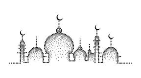 Vector dotted silhouette of mosque in black isolated on white background. Horizontal composition with mosque in dotwork style. Royalty Free Stock Photo
