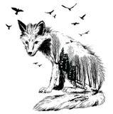 Vector Double exposure, fox, wildlife concept. Vector Double exposure, fox for your design, wildlife concept Royalty Free Stock Photo