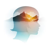 Vector Double Exposure Girl Portrait and Landscape vector illustration