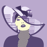 Vector double exposure illustration. Woman with city in her hat Royalty Free Stock Image