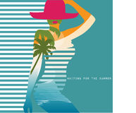 Vector double exposure illustration. Woman in swimsuit Royalty Free Stock Photo