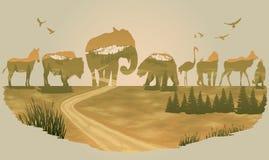 Vector Double exposure, Wild animals stock illustration