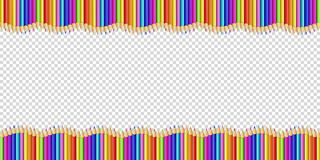 Vector double wavy border made of colored wooden pencils row isolated on transparent background. Back to school framework bordering template concept or photo vector illustration