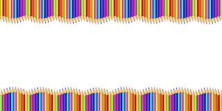 Vector double wavy border made of colored wooden pencils row isolated on white background. Back to school framework bordering template concept or photo frame vector illustration