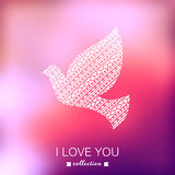 Vector dove, Valentine's Day background. Pigeon. Blurred templat Royalty Free Stock Image