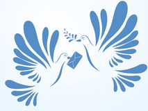Vector doves. Illustration of two doves flying. Stylized birds Royalty Free Stock Images