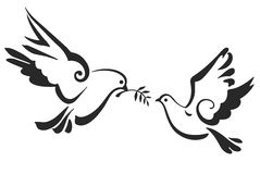 Vector Doves isolated on white. Peace Dove with olive branch. EPS 10. Christian dove, symbols of peace isolated on white. Vector template for design. Vector stock illustration