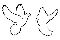 Vector doves silhouettes Stock Images