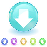 Vector download. Colorful download icon in vector mode on isolated background
