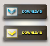 Vector download buttons. Set of vector download buttons over white background Stock Images