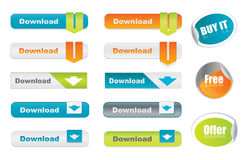 Vector download buttons and stickers Royalty Free Stock Photos