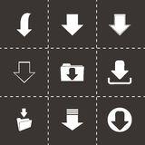 Vector download icons set. On black background Royalty Free Stock Photo