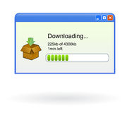 Vector download window progress. Vector illustration of browser window showing download progress for a file shared on internet, related to free web gadgets vector illustration