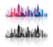 Vector Downtown Buildings Silhouettes Skyline Stock Images