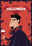 Vector Dracula Character Happy Halloween. Poster background Stock Images
