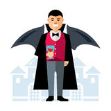 Vector Dracula Halloween. Flat style colorful Cartoon illustration. Royalty Free Stock Photos