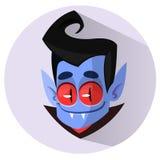 Vector Dracula Head Halloween Cartoon Illustration. Vector flat icon. Royalty Free Stock Image