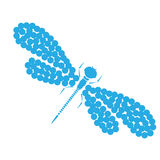 Vector dragon-fly silhouette. Cartoon graphic illustration of damselfly isolated with black and white wings. Sketch Royalty Free Stock Photos