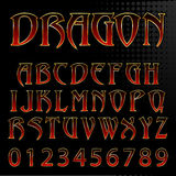 Vector dragon style font Royalty Free Stock Image