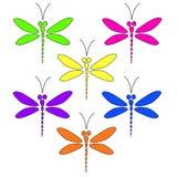 Vector dragonflies различных ярких цветов на белом backg Стоковые Изображения RF