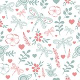 Vector dragonfly and flowers nature seamless. Vector dragonfly and flower nature seamless pattern. Hand drawing colorful illustration Royalty Free Stock Photos