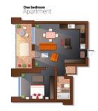 Vector Draufsichtillustration der modernen Schlafzimmerwohnung Ausführlicher Architekturplan des Esszimmers kombinierte mit Stockfoto
