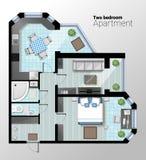 Vector Draufsichtillustration der modernen Wohnung mit zwei Schlafzimmern Ausführlicher Architekturplan des Esszimmers kombiniert Stockbilder