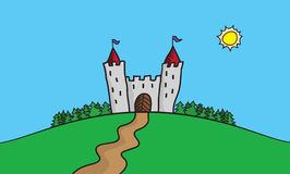 Vector draw illustration of scene with castle on hill in the forrest. Summer trip destination. Royalty Free Stock Photo