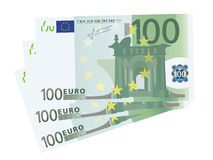 Vector drawing of a 3x 100 Euro bills (isolated). Photo-real vector drawing of a 100 euros banknote Stock Photography