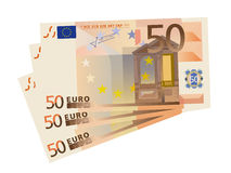 vector drawing of a 3x 50 Euro bills (isolated) Royalty Free Stock Image