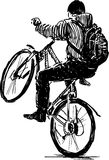 Active bicyclist. Vector drawing of an active cuclist royalty free illustration