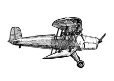Vector drawing of airplane stylized as engraving Stock Photography