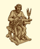 Vector drawing of ancient chronicler Royalty Free Stock Photo