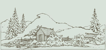 Vector drawing. Ancient rural landscape Stock Photo