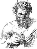Bacchus. Vector drawing of the antique  god of wine Stock Image