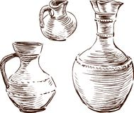 Greek jugs. Vector drawing of an antique greek jugs for a wine royalty free illustration