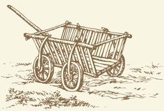 Vector drawing. Archaic wooden empty cart Stock Image